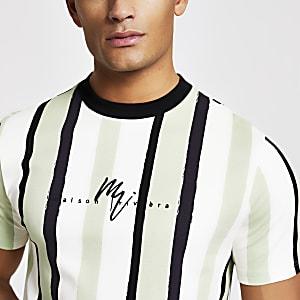 Maison Riviera – T-shirt slimà rayures vert