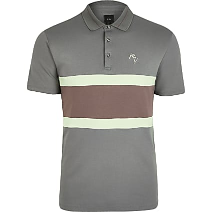 Maison Riviera grey block print polo shirt