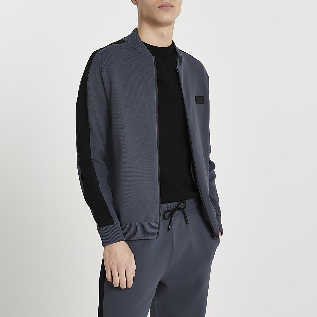 Maison Riviera grey bomber jacket