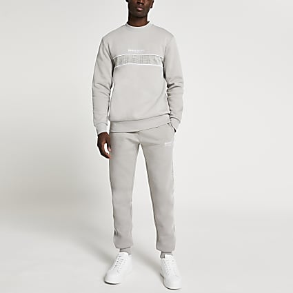Maison Riviera grey check block sweatshirt