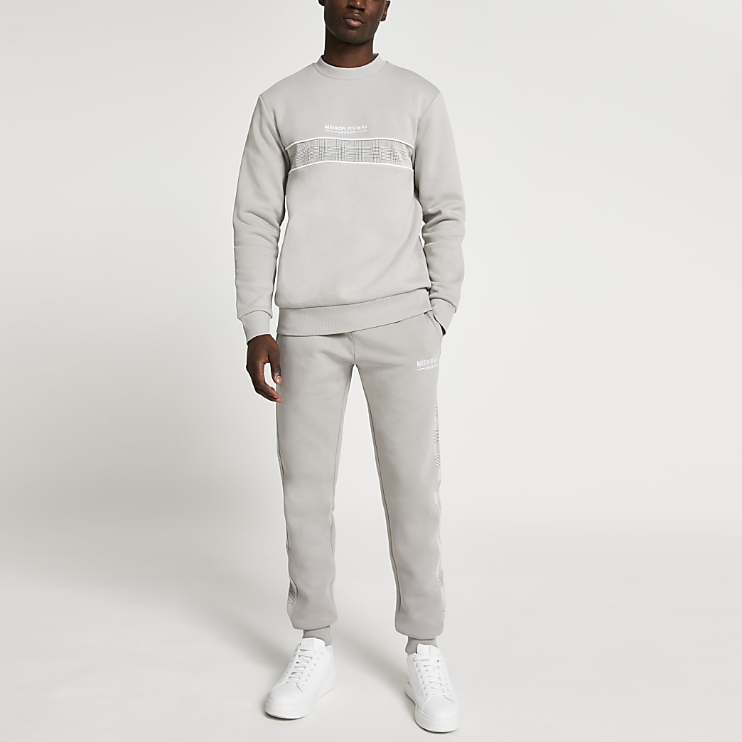 Maison Riviera grey check block sweatshirt