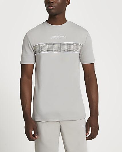 Maison Riviera grey check block t-shirt