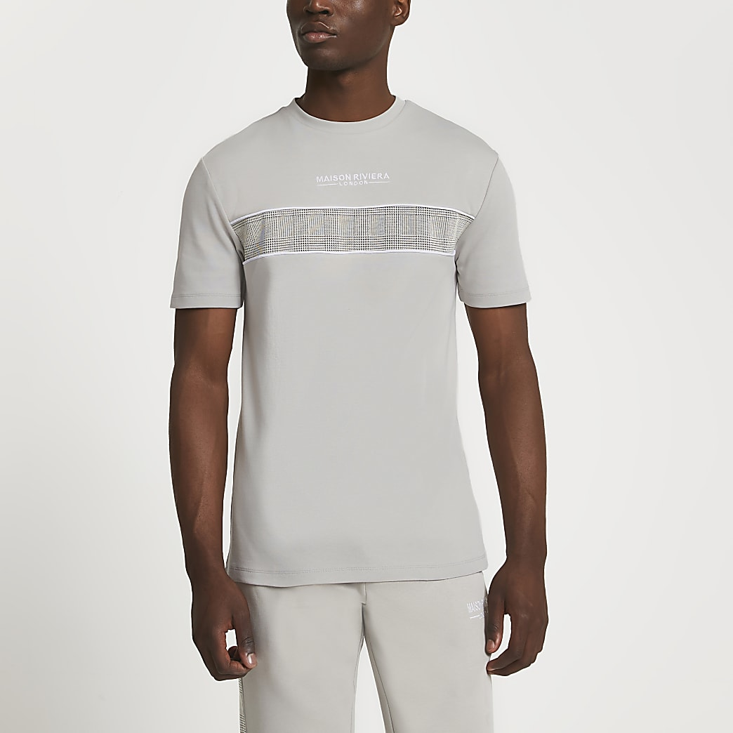 Maison Riviera grey check block t-shirt