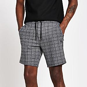 Maison Riviera– Shorts skinny àcarreaux gris