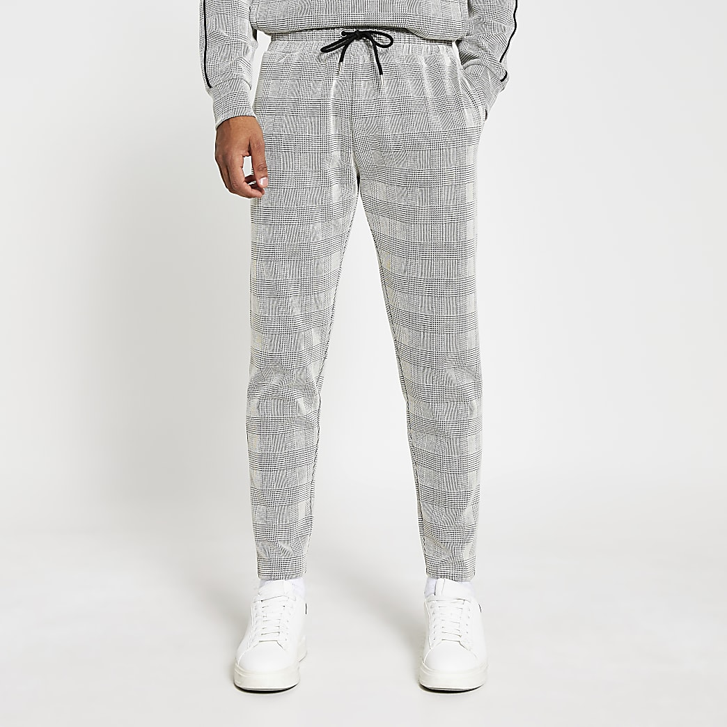 Maison Riviera grey check slim fit joggers