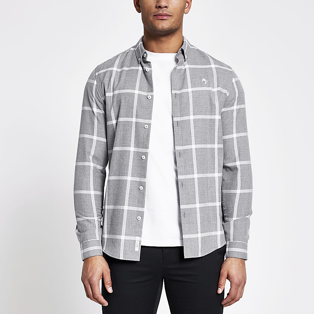 Maison Riviera grey check slim fit shirt