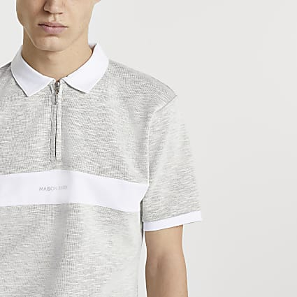 Maison Riviera grey colour block polo shirt