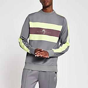 Maison Riviera– Graues Sweatshirt in Blockfarben-Design
