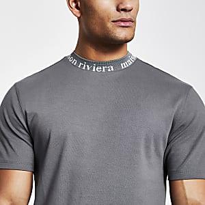Maison Riviera– Graues T-Shirt mit Rundhalsausschnitt