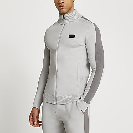 Maison Riviera grey funnel neck jumper