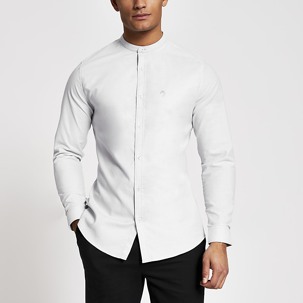 Maison Riviera - Grijs slim-fit overhemd zonder kraag