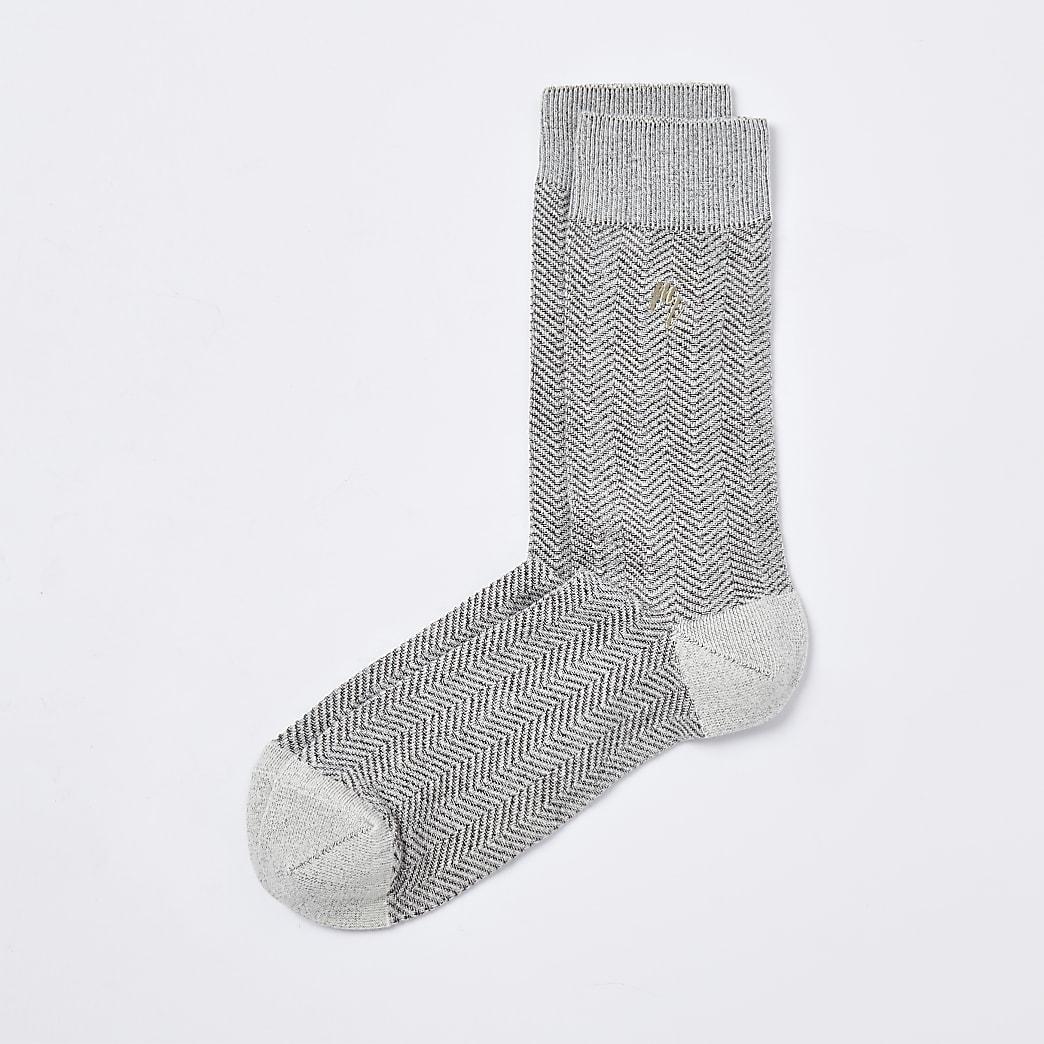 Maison Riviera grey herringbone socks 1 pair