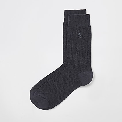 Maison Riviera grey herringbone socks 1 pair