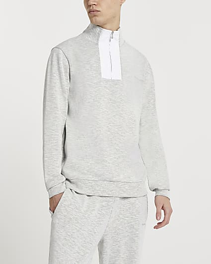 Maison Riviera grey high neck sweatshirt