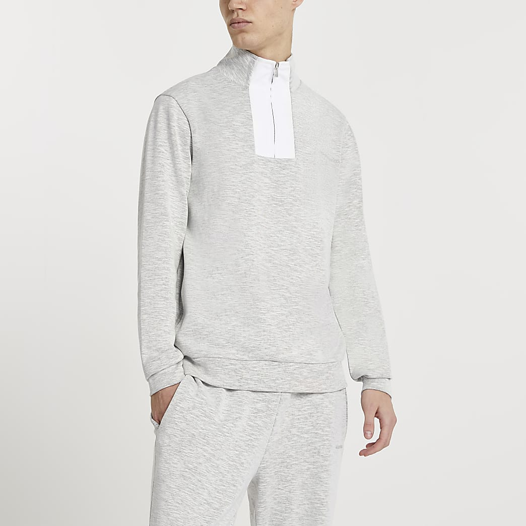 Maison Riviera grey high neck sweatshirt