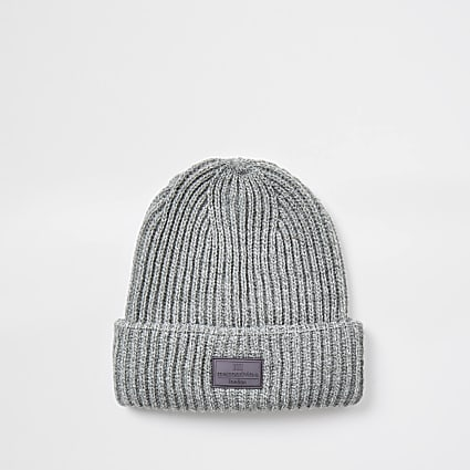 Maison Riviera grey knitted beanie hat