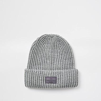 Maison Riviera grey knitted beanie hat