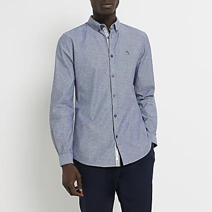 Maison Riviera grey long sleeve Oxford shirt