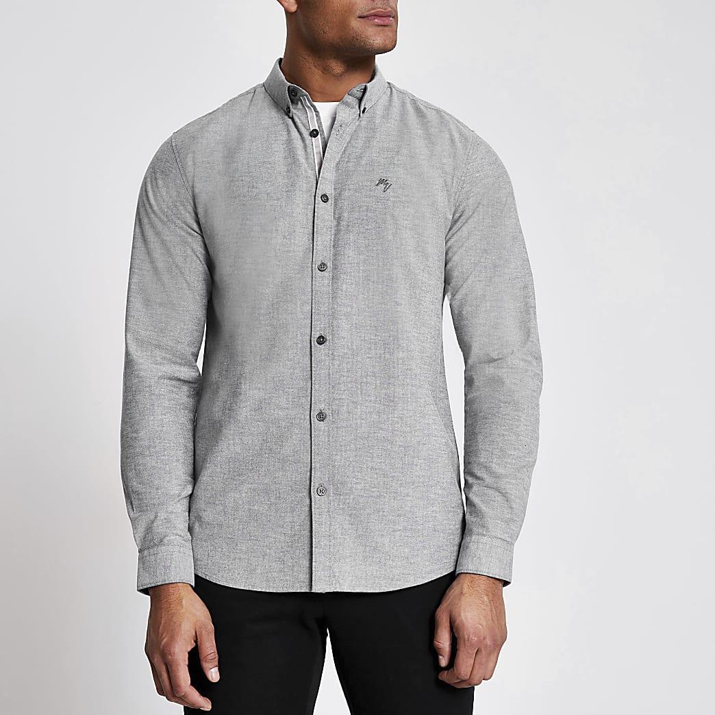 Maison Riviera - Grijs overhemd met lange mouwen