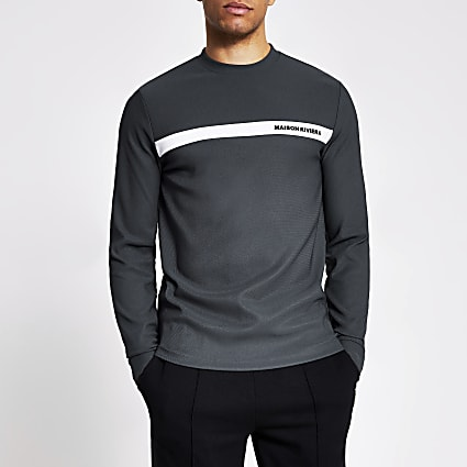 Maison Riviera grey long sleeve slim T-shirt