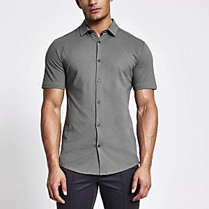 Maison Riviera - Grijs piquémuscle-fit overhemd
