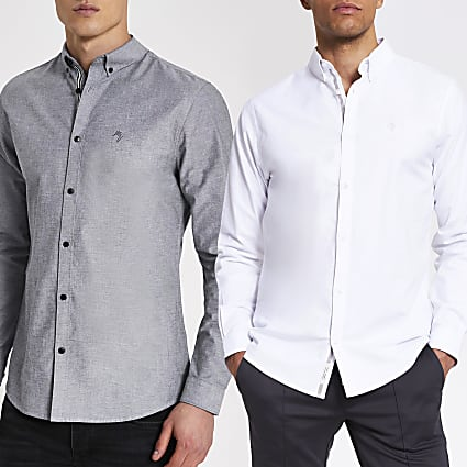 Maison Riviera grey Oxford shirt 2 pack