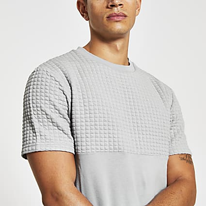 Maison Riviera grey quilted slim fit T-shirt