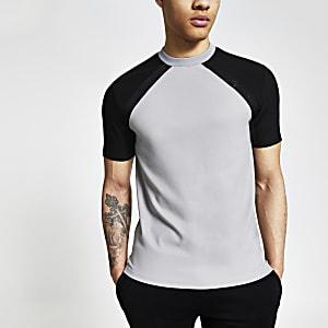 Maison Riviera – Graues Slim Fit T-Shirt mit Raglanärmeln