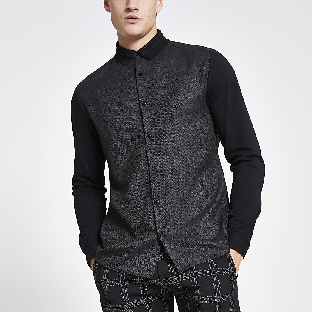 MaisonRiviera- Grijs slim-fit overhemd met geribbelde kraag