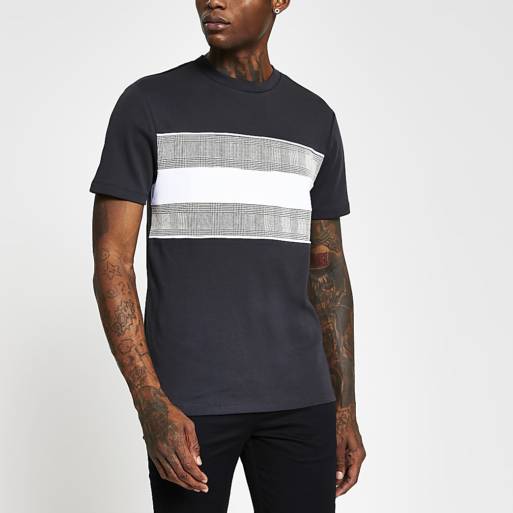 Maison Riviera grey slim check print t-shirt