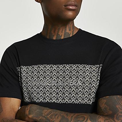 Maison Riviera grey slim fit block t-shirt