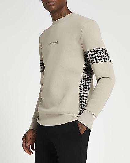 Maison Riviera grey slim fit check sweatshirt