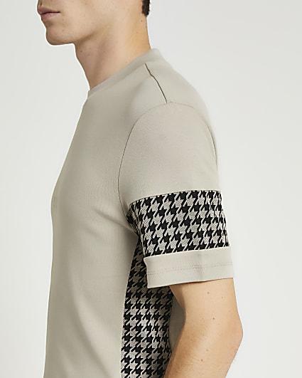 Maison Riviera grey slim fit check t-shirt