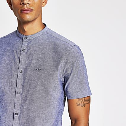 Maison Riviera grey slim fit grandad shirt