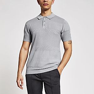 Maison Riviera– Graues Slim Fit Poloshirt aus Strick