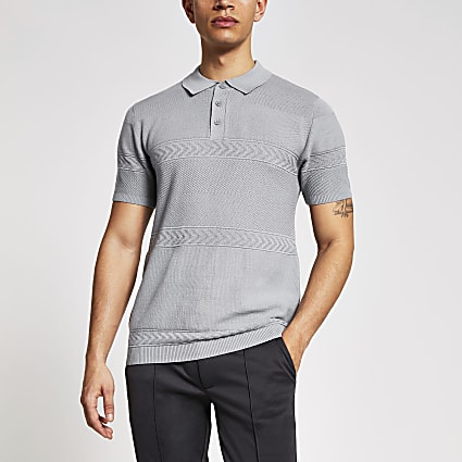 Maison Riviera grey slim fit knit polo shirt
