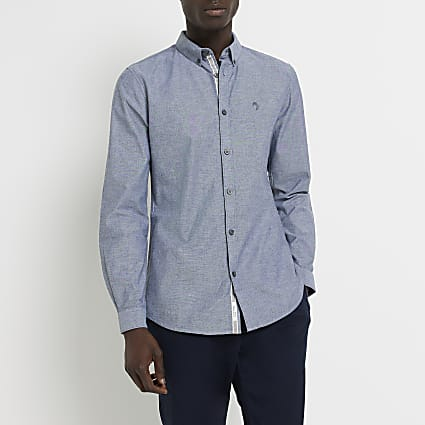 Maison Riviera grey slim fit Oxford shirt