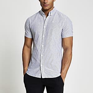 Maison Riviera – Grau gestreiftes Oxford-Hemd
