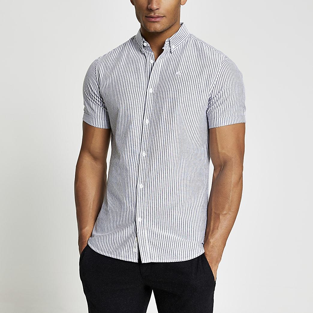 Maison Riviera - Grijs gestreeptOxford overhemd