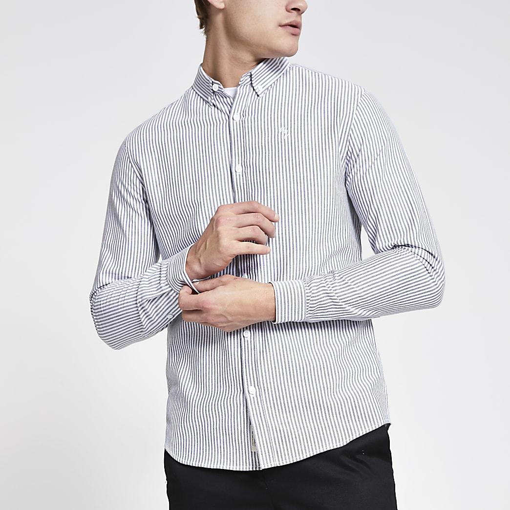 Maison Riviera - Grijs gestreept slim-fit overhemd