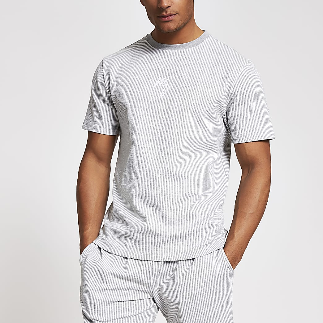 Maison Riviera grey stripe slim fit T-shirt