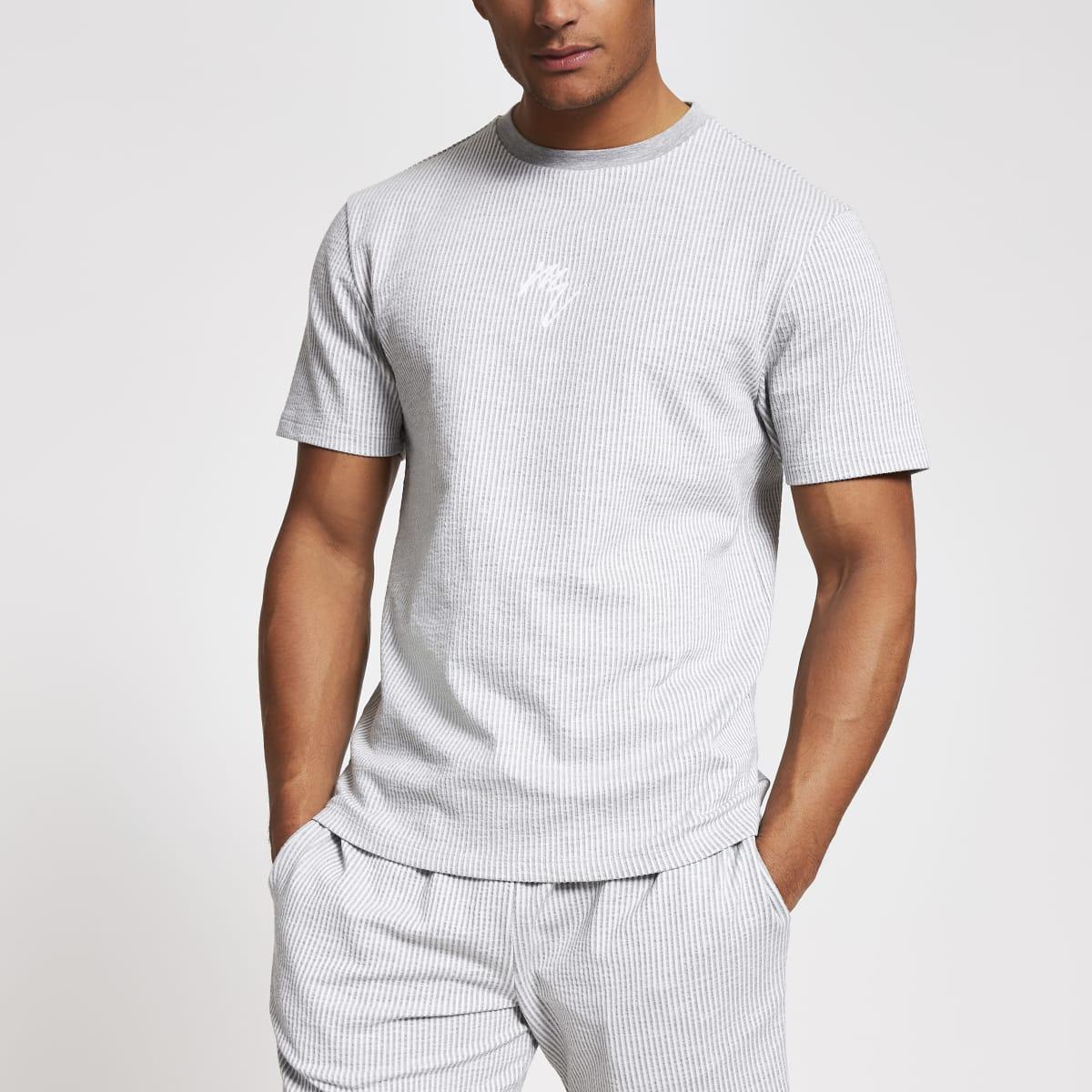 Maison Riviera - Grijs gestreept slim-fit T-shirt