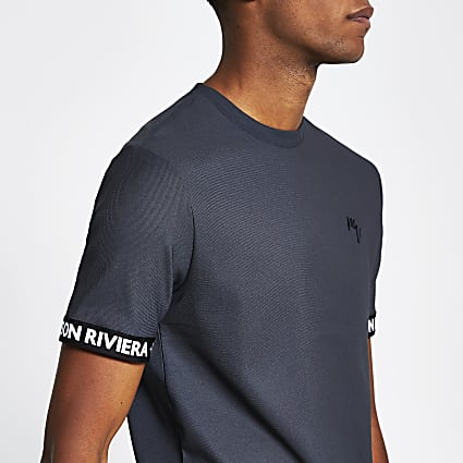 Maison Riviera grey tape slim fit t-shirt