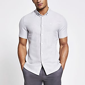 Maison Riviera grey textured slim fit shirt