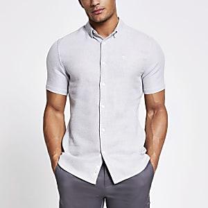 Maison Riviera – Graues Slim Fit Hemd mit Struktur