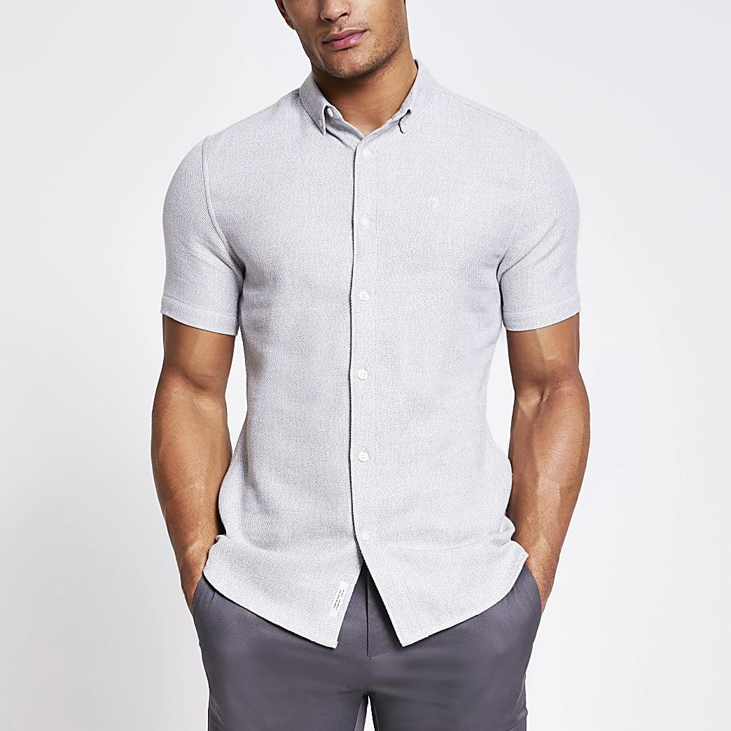 Maison Riviera - Grijs slim-fit overhemd met textuur