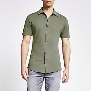 Maison Riviera – Kragen-Poloshirt aus Feinstrick in Khaki