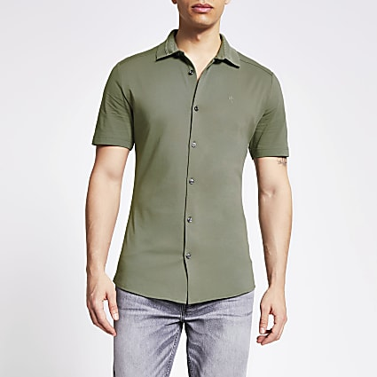Maison Riviera khaki knit collar polo shirt