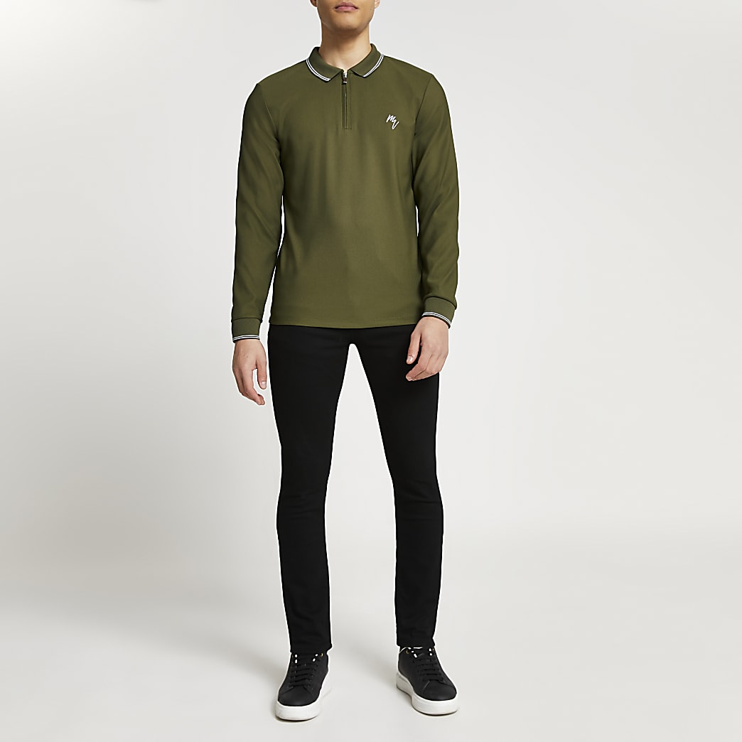 Maison Riviera khaki long sleeve polo shirt