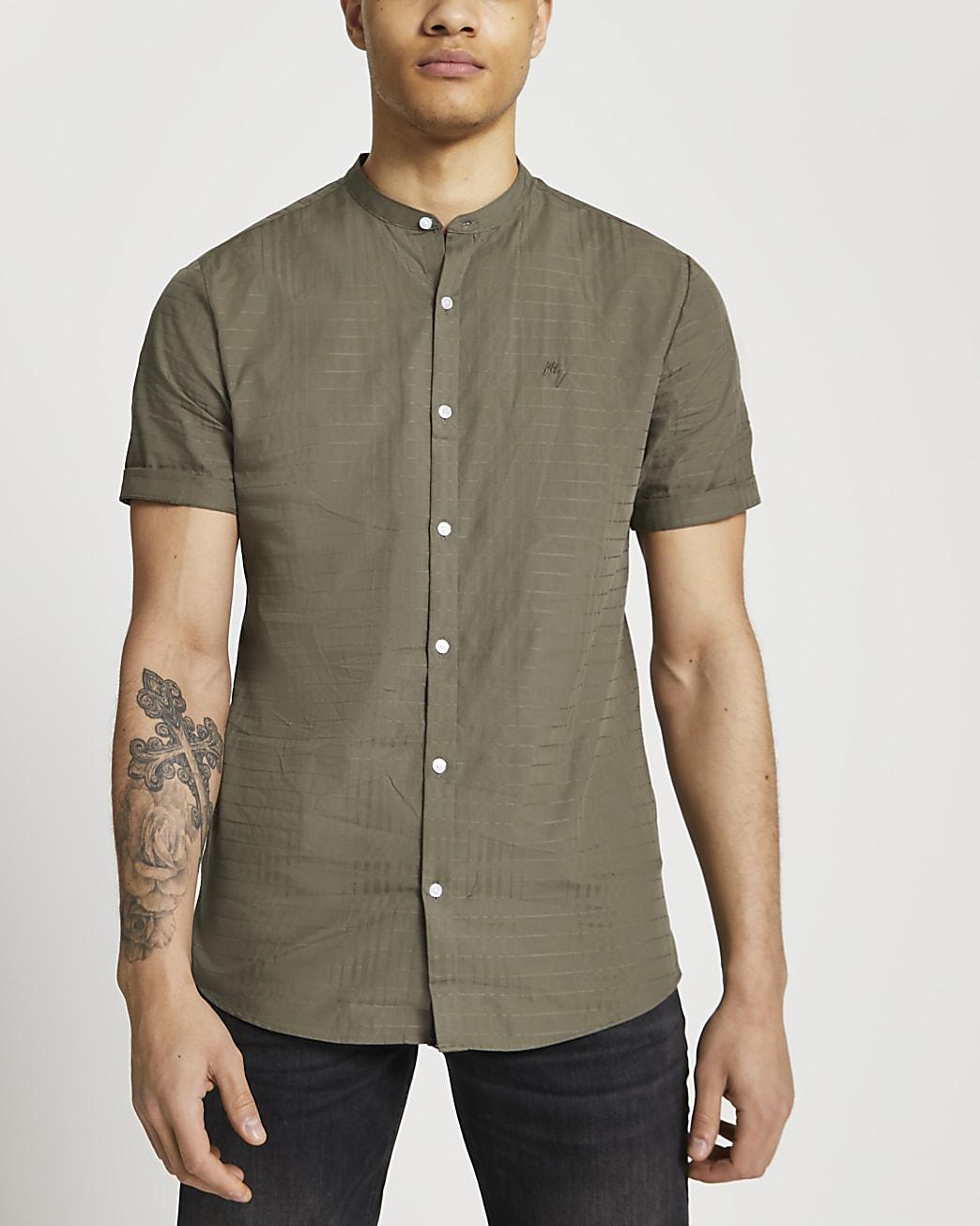 Maison Riviera khaki short sleeve shirt
